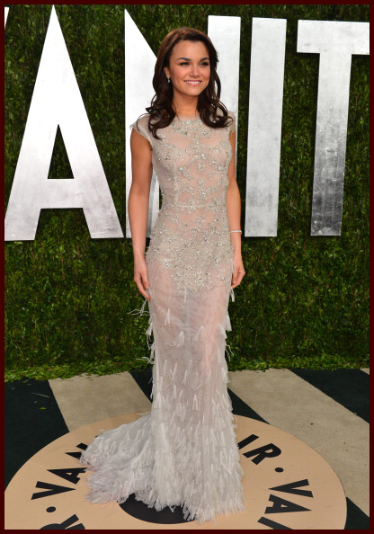 Samantha Barks attends after Oscars party of Vanity Fair Magazine in Celia  Kritharioti Haute Couture aetheral gown. f2d5df7b82d